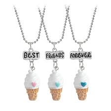 <b>3pcs</b>/<b>set</b> Best Friends Forever Cute ice cream Pendant Necklace, 3 ...
