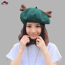 <b>Newest woman</b> Christmas elk Deer horn cap Wool <b>beret</b> Fashion ...