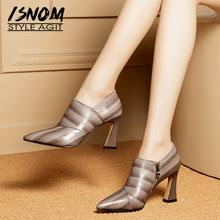 isnom 2018 fashion women shoes summer mules genuine leather pointy slippers thick heels lady footwear female casual