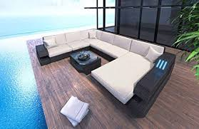 <b>Garden Sofa</b> Made of <b>Polyrattan</b> in the U Form XXL with LED Lighting
