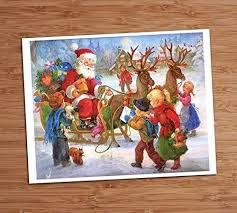 <b>santa</b> claus picture <b>christmas</b> children toys framed <b>print</b> 8x10