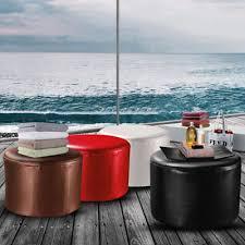 Furniture Round <b>PU Leather Footstool</b> Ottoman Bedroom Foot Rest ...