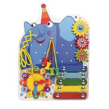 <b>Бизиборд Деревяшки</b> Слон Ду-ду с часами: характеристики ...