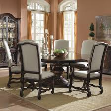 dining table fabric upholstered chairs iron  inspiration sweet espresso round dining table with cream fabric