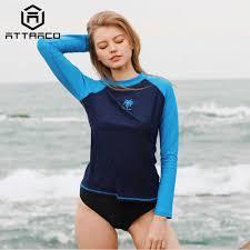 <b>Attraco Women Rashguard</b> Swimsuit Long Sleeve Shirts UPF50+ ...
