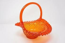 Fenton Art Glass Basket Orange Hobnail Ruffled Edge <b>Spring Easter</b> ...