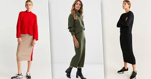 Тепло и стильно: модные <b>трикотажные костюмы</b> с юбкой, как у ...