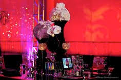 <b>Modern</b> black and crystal reception decor with <b>purple</b>, <b>pink</b> and <b>red</b> ...