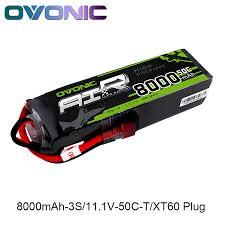 <b>Ovonic 8000mAh</b> 11.1V Lipo 3S 50C 100C Lipo Battery <b>Pack</b> T ...