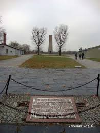 photo essay sachsenhausen concentration camp  a wandering sole memorial at the prison hanging site with memorial in the distance