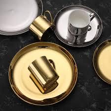Nordic Gold Silver Dinner Plate Bone China Luxury ... - Amazon.com