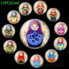 Russian Doll <b>Fridge</b> Magnet Cute Cartoon Stickers Decor <b>12PCS</b>/<b>set</b> ...