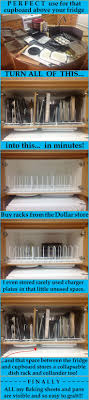 photos kitchen cabinet organization: dollar store dish racks to separate the pans and lids in a cabinet above the fridge