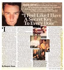 marjorie rosen reviews edward norton i feel like i have a secret key to every door
