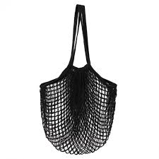 iEFiEL Black Portable Washable Reusable <b>Mesh Net Shopping Tote</b> ...