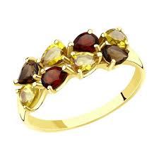 <b>Кольцо</b> из <b>желтого</b> золота с полудрагоценными вставками ...