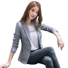 <b>2019 New Blazer Feminino</b> Manga Longa Vadim Style Checked Suit ...