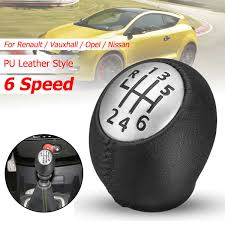 6 Speed PU <b>Leather Gear Shift Shifter</b> Knob Lever Stick for Renault ...