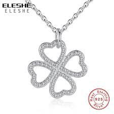 ELESHE <b>Fashion 925 Silver Jewelry</b> Symbol of Love Clover ...