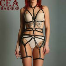 <b>CEA</b>.<b>HARNESS 2PCS</b> Leather Harness Belt Body Bondage Garter ...