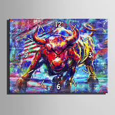 Free Shipping <b>E HOME</b> Red Bullfight Clock in <b>Canvas</b> 1pcs Wall ...