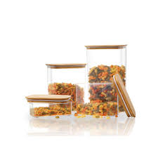 StyleWell Rectangle Canister with <b>Bamboo</b> Lid (<b>Set of 4</b>)-080634 ...