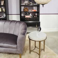 luxe lilac purple settee with channel tufting from cynthia rowley for hooker furniture the channel tufted furniture