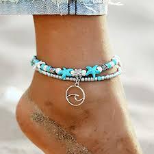 FINETOO <b>Wave</b> Blue Starfish Silver Turtle Anklet <b>Multi</b>-<b>Layer</b> ...