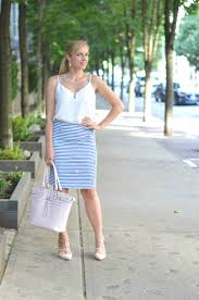 summer in stripes legallee blonde summer work outfit idea