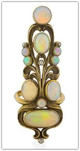 images about art nouveau on pinterest   brooches  arts    art nouveau opal  amp  diamond gold index finger ring  american ca  design based on an essay on broom corn by e  colonna  provenance  collection of dora jane