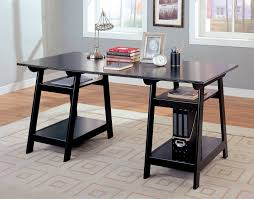 office desk black amazoncom coaster trestle style office desk table black wood finish kitchen amp dining alaska black oak office desk