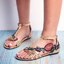 Large Size <b>Women Summer</b> Embroidered Rose Buckle <b>Peep Toe</b> ...