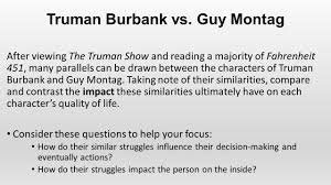 truman burbank vs guy montag after viewing the truman show and 1 truman