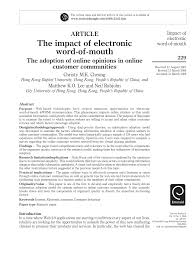 the impact of electronic word of mouth the adoption of online the impact of electronic word of mouth the adoption of online opinions in online customer communities pdf available