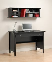 simple modern black computer desk for small home office complete with black wall shelf and small white table lamp combine with beige laminate flooring black office desks