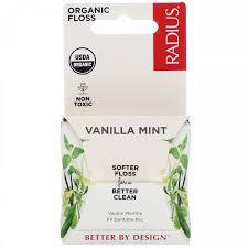 <b>Зубная нить</b> RADIUS, <b>Organic Floss</b>, Vanilla Mint, 55 yds (50 m ...