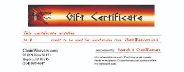 chainmaille gift certificates printable holiday presentation certificate