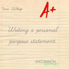 writing a personal purpose statement