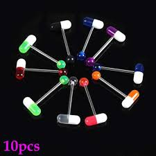 <b>10pcs</b>/<b>lot Mixed</b> Color Pill Style Tongue Nipple Bar Ring Barbell ...