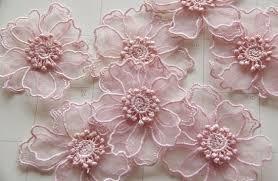Pink Double <b>lace</b> Flower Trim, DIY Mesh <b>lace Wedding</b> accessories ...
