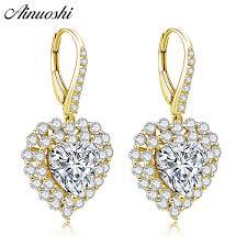 2019 <b>AINUOSHI 10K Solid Yellow</b> Gold Heart Drop Earring SONA ...