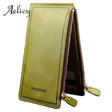 Aelicy Double Zipper <b>Long Wallet Multi card</b> position PU <b>Leather</b> ...