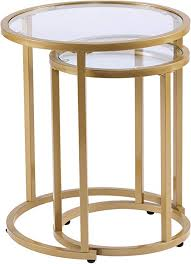 Furniture HotSpot Gold Metal <b>Nesting</b> End <b>Tables</b> - <b>2 Pcs</b> Set