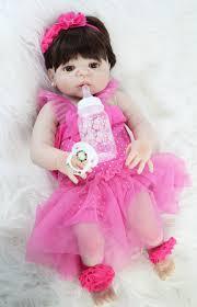 55cm <b>Full Silicone</b> Reborn <b>Baby</b> Doll Toy Vinyl Pink Dress <b>Newborn</b> ...