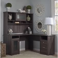 cabot espresso oak l shaped desk with hutch bush desk hutch office