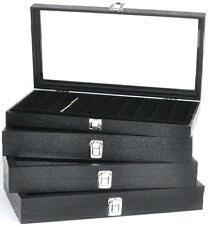 WHITE 100 GLASS TOP GEM BOXES W/ <b>REVERSIBLE PAD</b> 1 ...