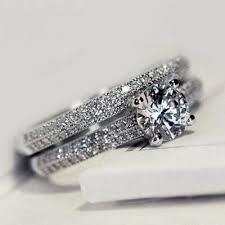 <b>2Pcs Statement Ring</b> Set White Gold Filled <b>Engagement</b> Band <b>Rings</b> ...