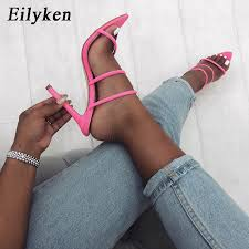 Eilyken 2019 <b>Summer New</b> Shoes <b>Woman</b> Lycra fluorescent Mules ...