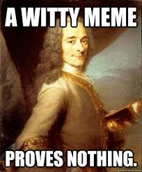A witty meme proves nothing. - Good Guy Voltaire - quickmeme via Relatably.com
