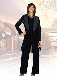 Chiffon <b>Black Mother Of</b> The Bride Pants Suits Plus Size Long ...